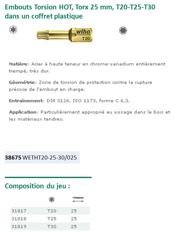 COFFRET DE 3 EMBOUTS TORSION HOT T20-T25-T30 LG.25 38675