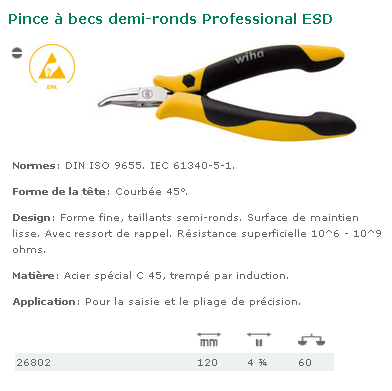 PINCE PROFESSIONAL ESD BECS DEMI-RONDS TETE COURBEE 45?  26802