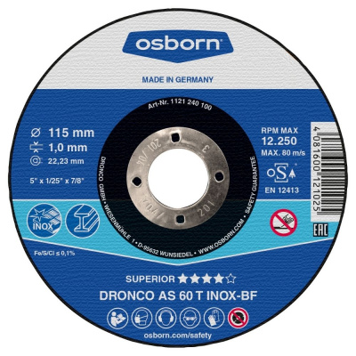 DISQUE A TRONCONNER PLAT 115X1.0X22.2 AS60T INOX 1111-240.100